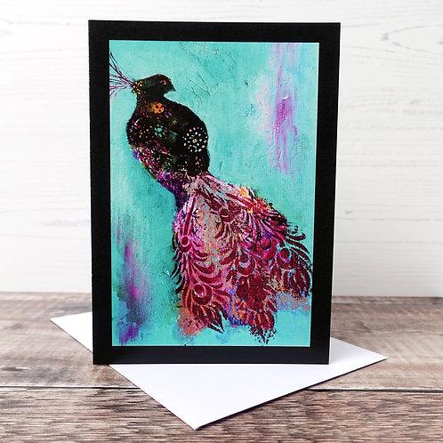 Single Greetings Card - Peacock