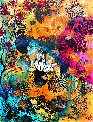 Original Floral Abstract Painting on Watercolour Paper (Unframed/Framed)