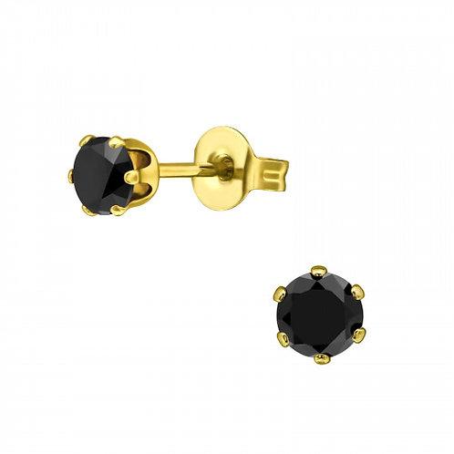 RVS oorstekers gold plated met CZ zwarte zirkoon