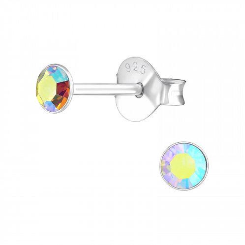 Zilveren oorstekers met facet multikleurige steen