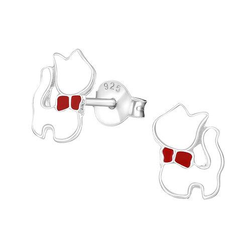 Zilveren katjes oorstekers (wit)