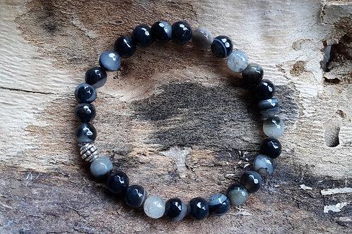 Armband agaat zwart - grijze tinten