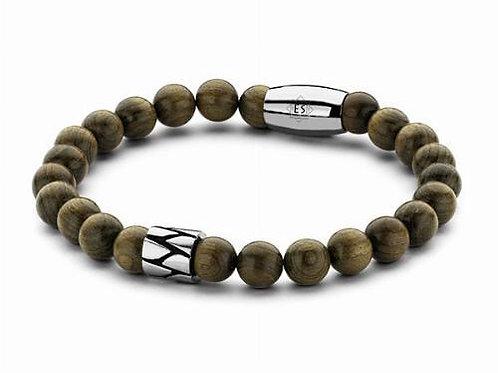 Armband houten kralen met roestvrijstalen magneetsluiting