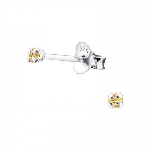 Zilveren oorstekers met CZ champagne mini zirkoon