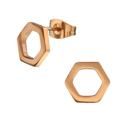 Oorstekers hexagon rosé - rvs
