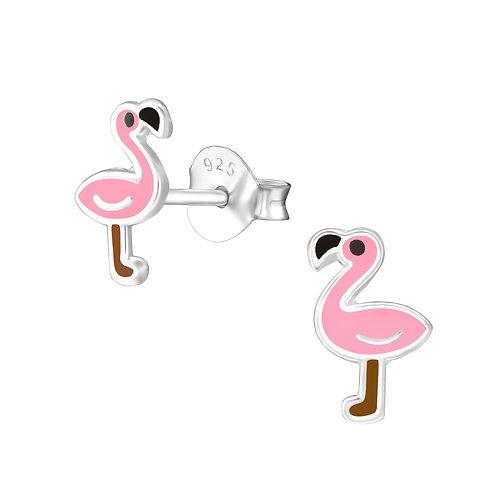 Sterling zilveren oorstekers flamingo
