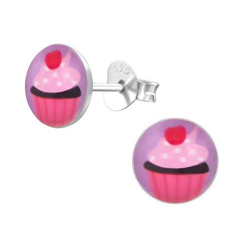 Zilveren oorstekers met cupcake