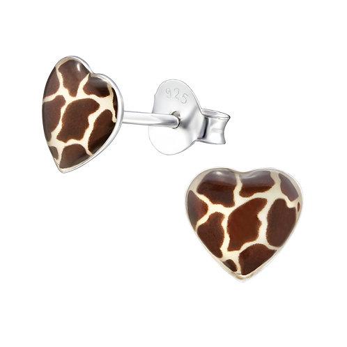 Oorstekers sterling zilver giraf hartjes
