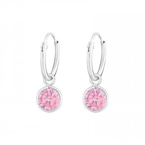 Zilveren creolen met roze Swarovski