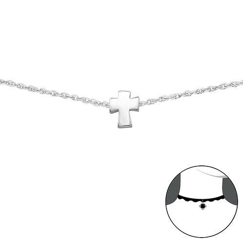 Zilveren choker met kruisje