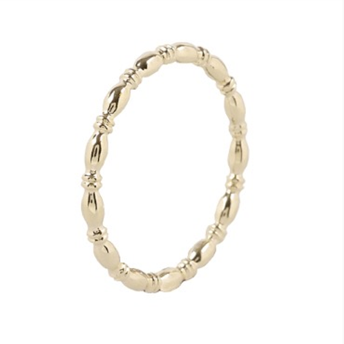 Minimalistische 14 k geelgouden ring rhythmic