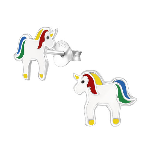 Sterling zilveren oorstekers unicorn