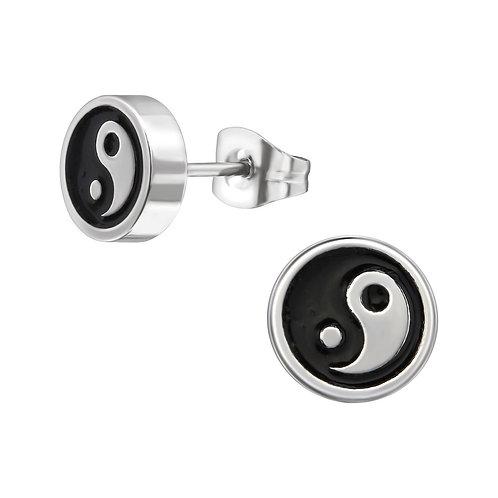 Oorstekers yin en yang - rvs