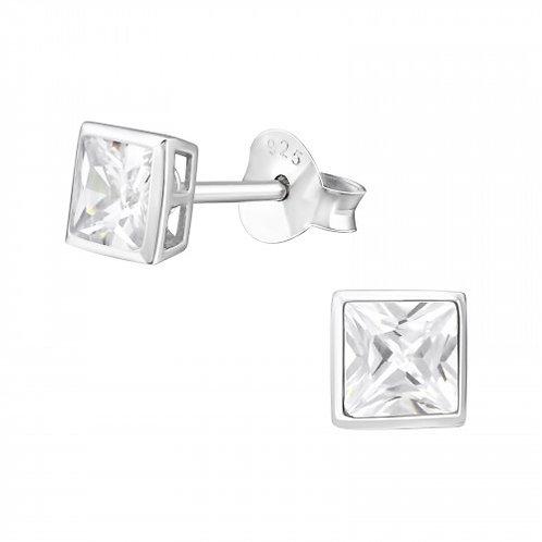 Zilveren oorstekers met square CZ witte zirkoon