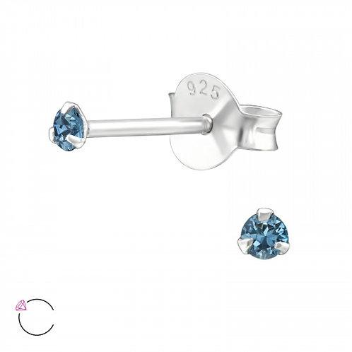 """Zilveren oorsteker met SwarovskiⓇ """"Denim Blue"""""""