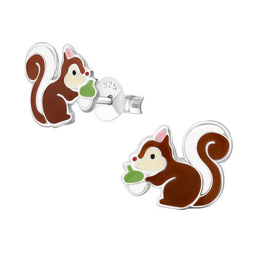 Zilveren oorstekers eekhoorn met nootje