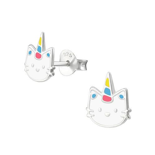 Zilveren oorstekers hello kitty unicorn