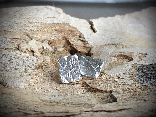 Minimalistische rechthoek oorstekers fijn zilver 999