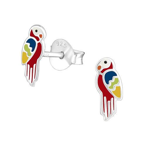 Sterling zilveren oorstekers papegaai