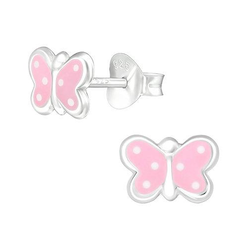 Zilveren oorstekers roze vlinder