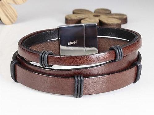 Armband nappaleder met roestvrijstalen magneetsluiting