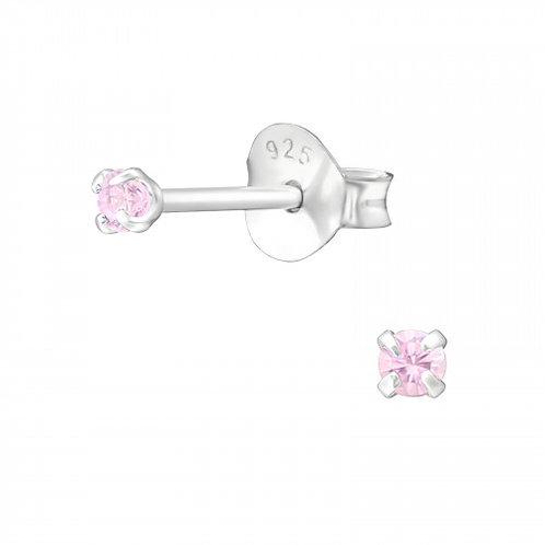 Zilveren oorstekers met CZ roze zirkoon