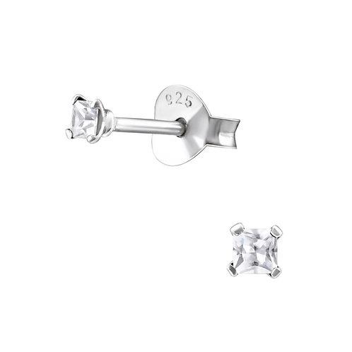 Zilveren oorstekers met CZ witte mini zirkoon