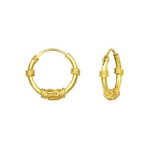 Bali hoops gold plated zilver