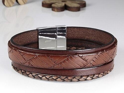 Armband (4) nappaleder met roestvrijstalen magneetsluiting