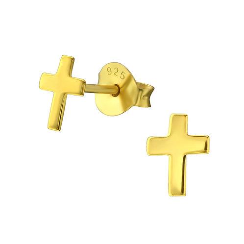 Sterling zilveren oorstekers met een mini kruisje (verguld)