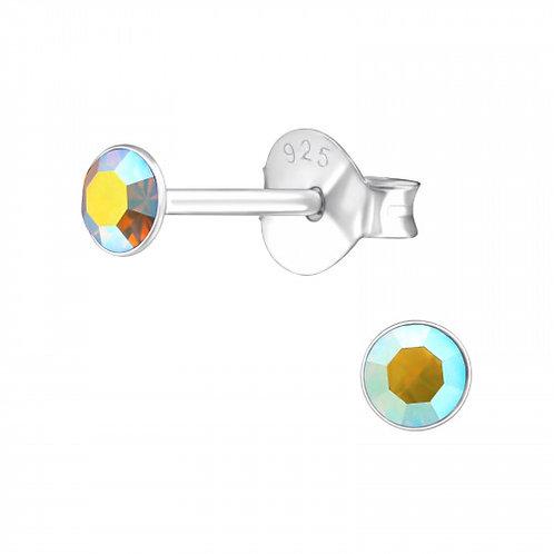 Zilveren oorstekers met facet topaaskleurige steen
