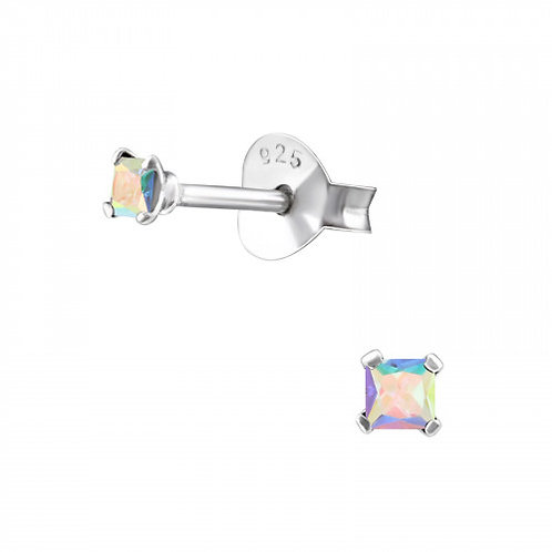 Zilveren oorstekers met CZ multicolor mini zirkoon