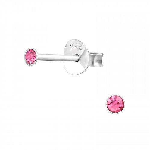 Zilveren oorstekers met facet 'pink' steen