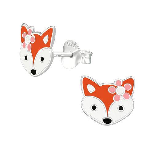 Zilveren oorstekers met vosje