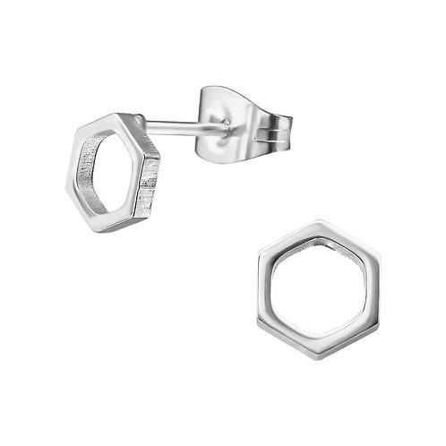 Oorstekers hexagon zilverkleur