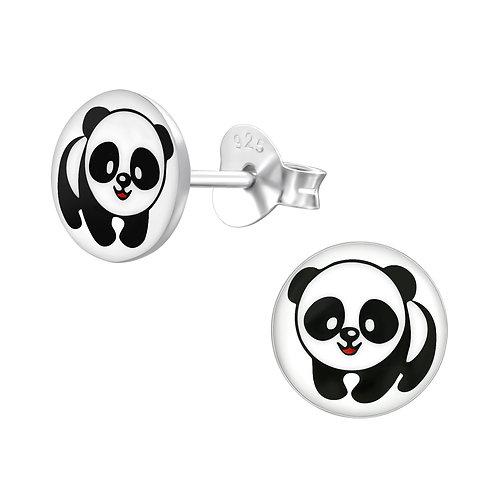 Zilveren oorstekers panda (klein model)