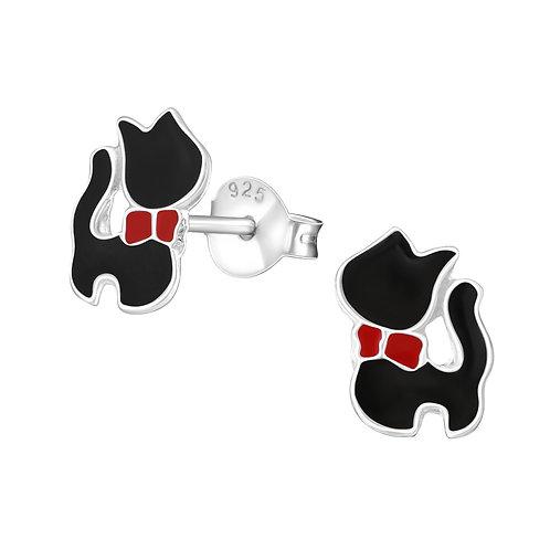 Zilveren zwarte katjes oorstekers