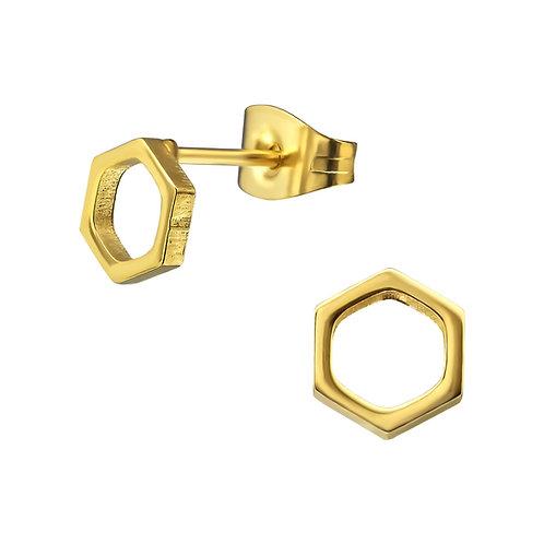 Oorstekers hexagon goudkleur - rvs