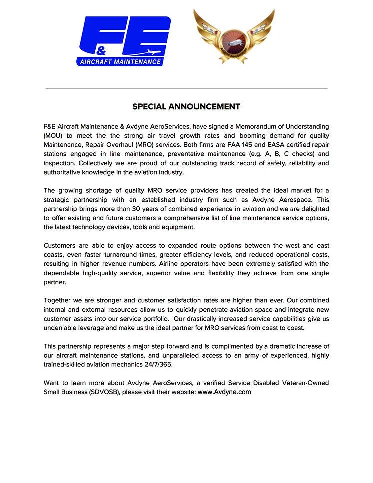 F&E_Avdyne AeroServices Partnership Anno