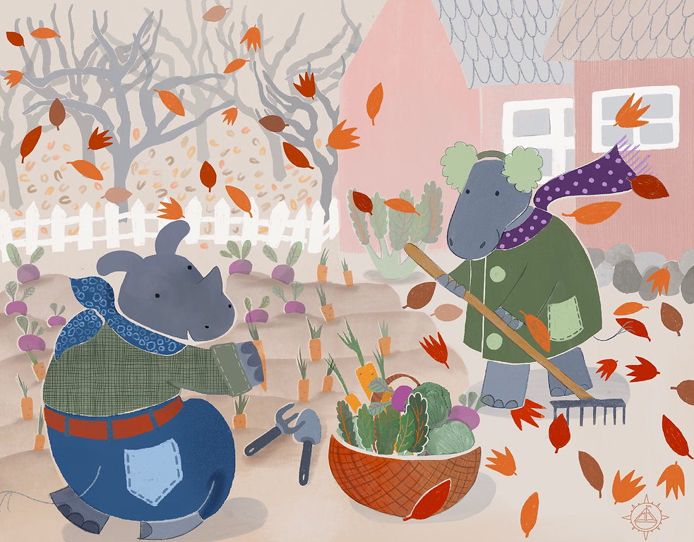 Picture book illustration hippo and rhino harvesting autumn vegetables