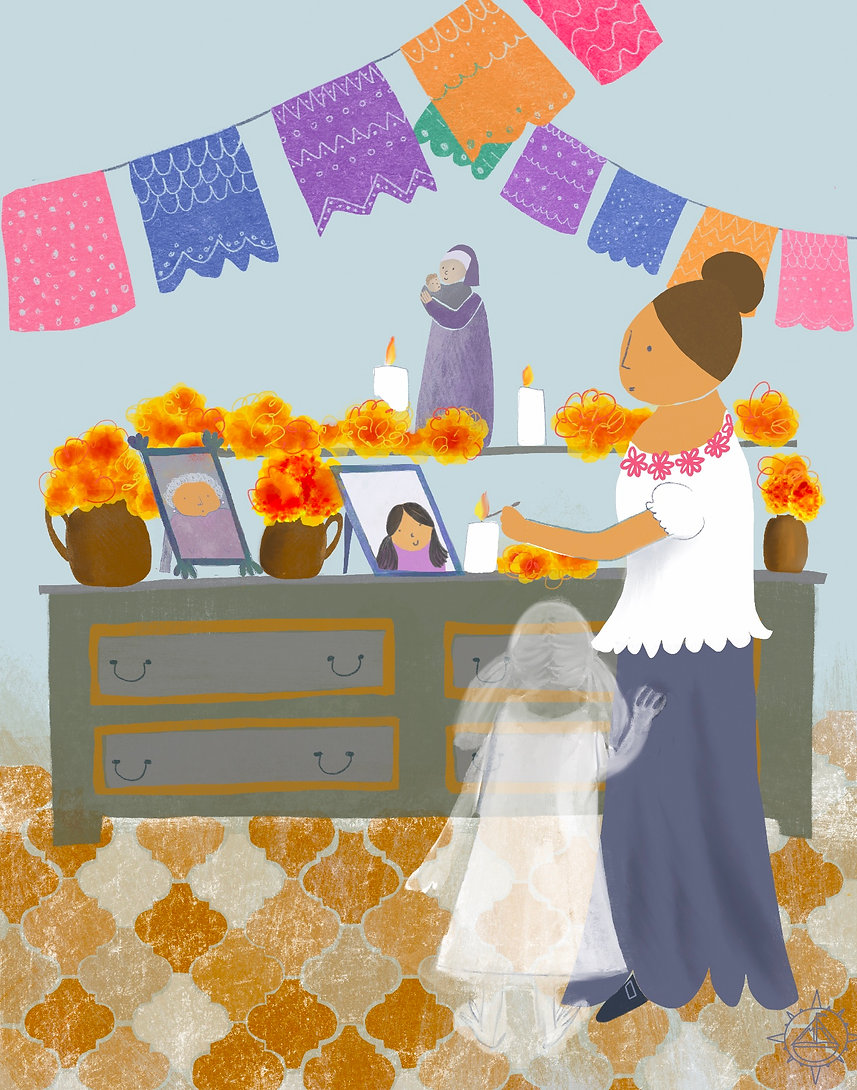 Picture book illustration about las dias de los muertos