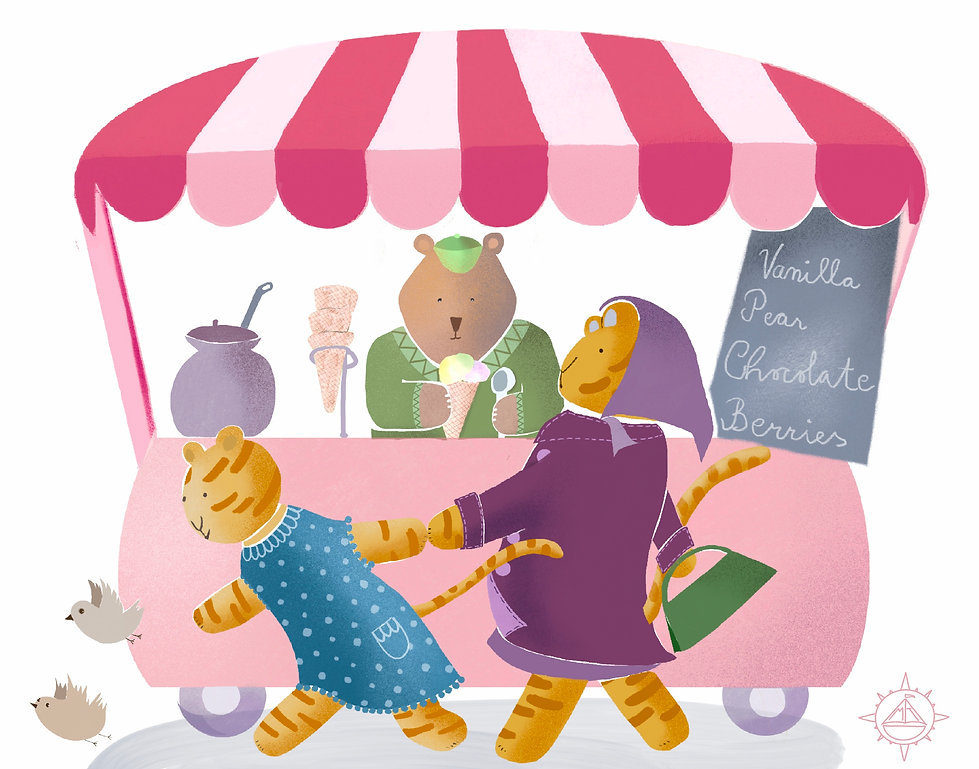 Picture book illustration of siberian tigers and kamchatkan bear and icecream wagon