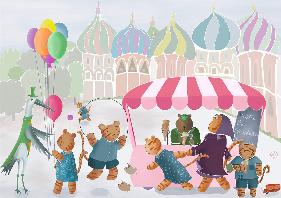 Picture book illustration of siberian tigers visiting Moscow, eating ice cream and playing