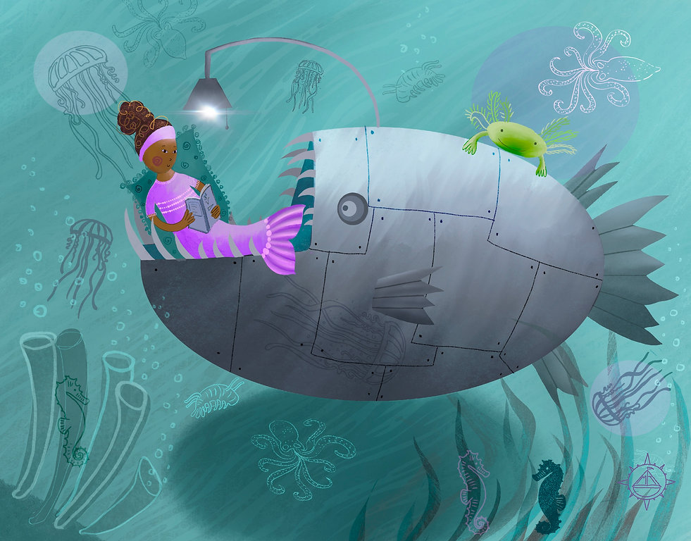 Picture book illustration of mermaid studying science in mouth of robot fish