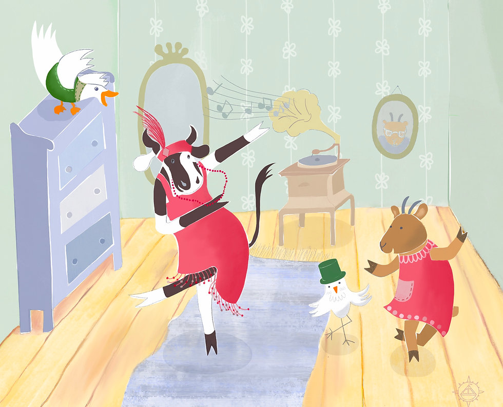 Picture book illustration of animal friends dancing the Charleston