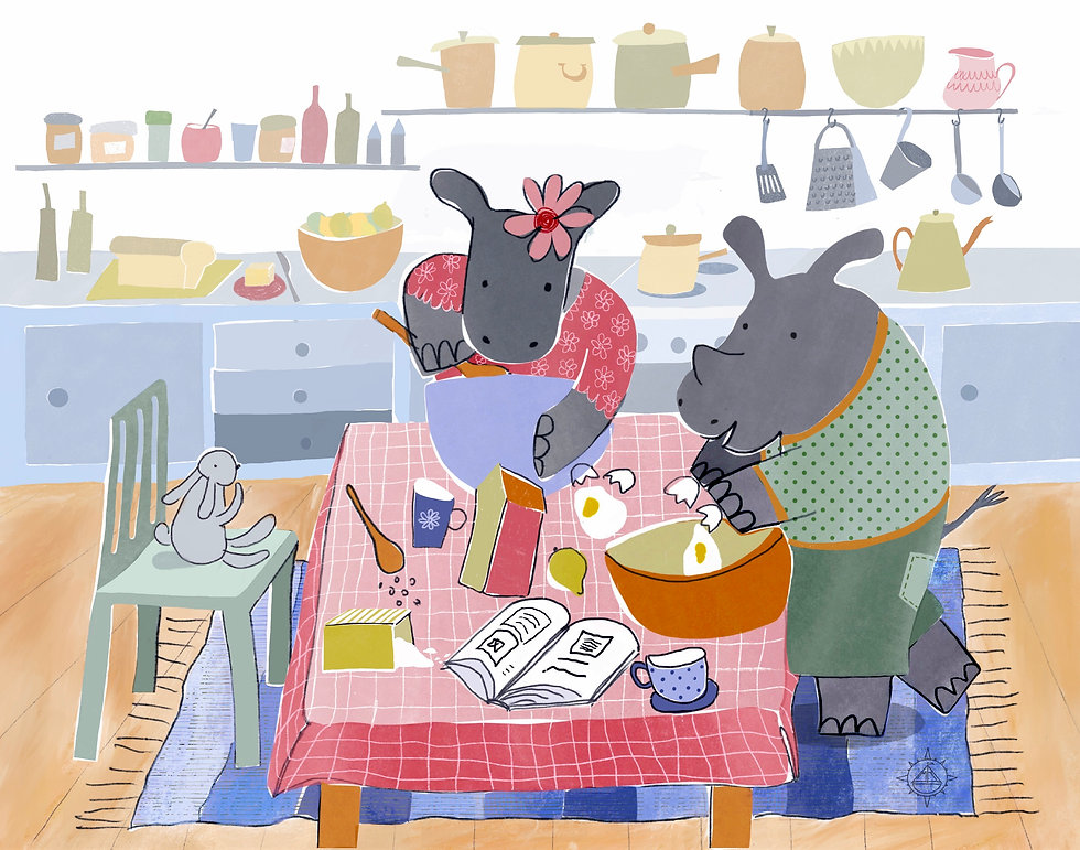 Picture book illustration of Hippo and Rhino baking and having fun