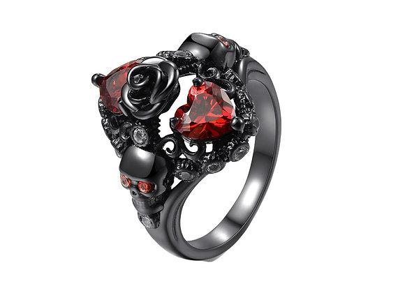 """""""Black gold"""" ring med ros och skallar"""