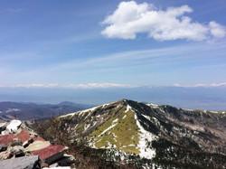 四阿山からの根子岳、後立山連峰