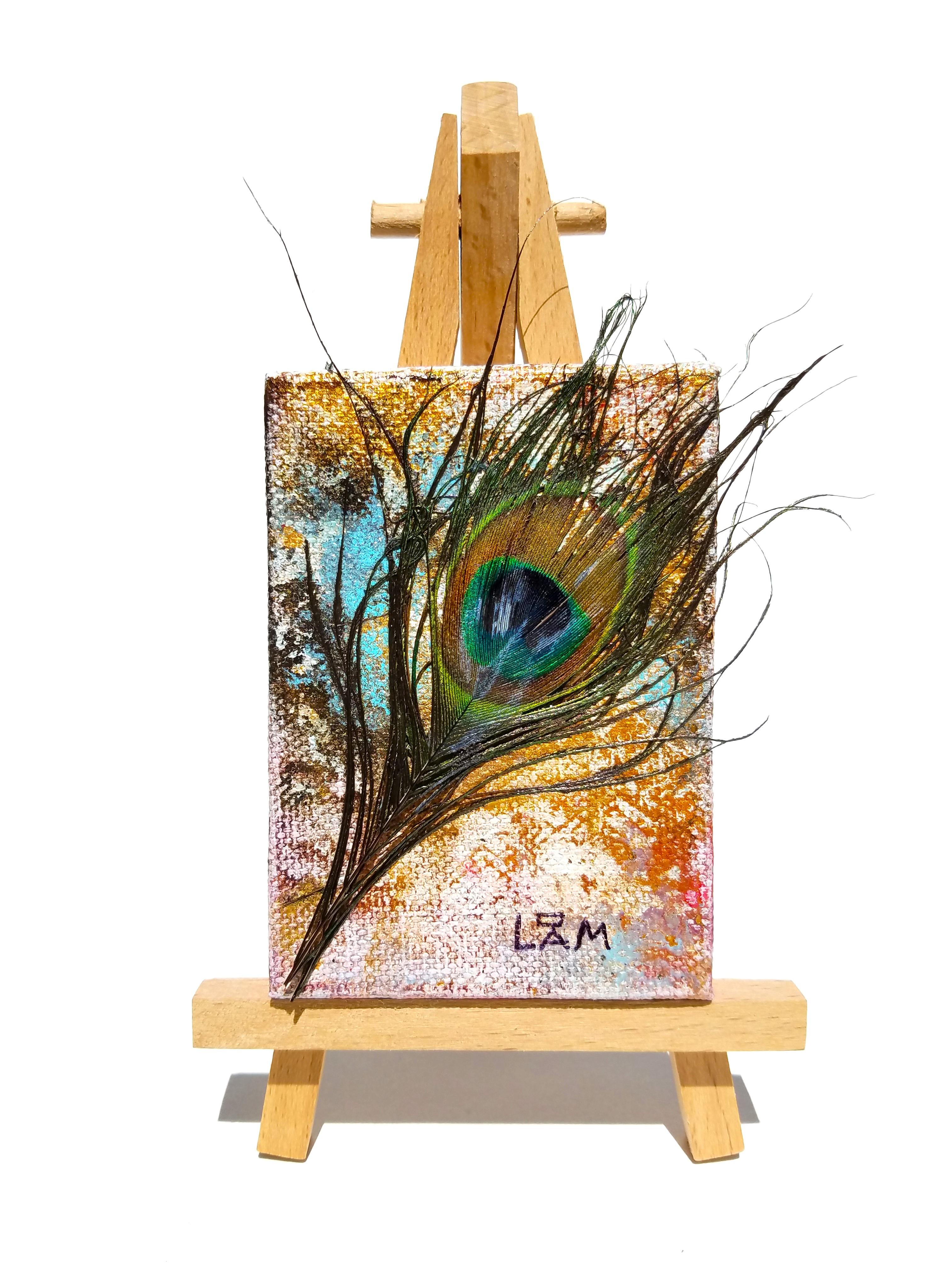 'Miniature-Peacock-Blue/Brown'