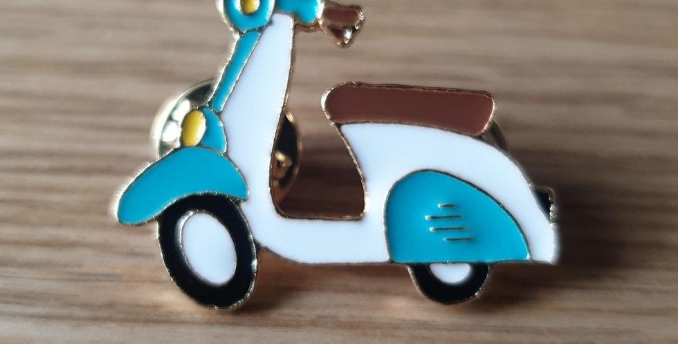 Pin, scooter hvid/turkis